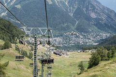 Chairlift in Courmayeur, Italian Alps, Italy Stock Photo