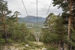 Chairlift in El Bosque ski slope Royalty Free Stock Photos