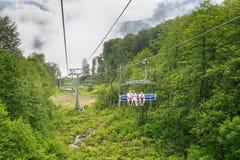 chairlift Makro des grünen Grases stockfoto