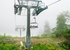 chairlift Makro des grünen Grases lizenzfreies stockbild