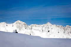 Chairlift on alps Stock Photos