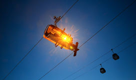Chairlift with an orange bubble Royalty Free Stock Image