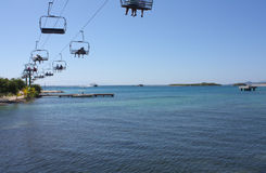 Chairlift over the Ocean Royalty Free Stock Photo