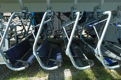 Chairlift seats in a row Stock Images