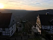Chairlift Seilbahn στο Castle Burg σε Solingen με την όμορφη άποψη στο σύνολο ήλιων στοκ εικόνες