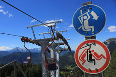 Chairlift signs. Skilift with chairlift signs, Spanov vrh, Slovenia Stock Images