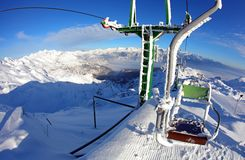 Chairlift in the ski resort Stock Photos
