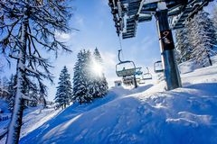 Chairlift in a Ski Resort Stock Image