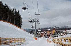 Chairlift on ski resort Royalty Free Stock Photo