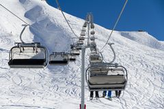 Chairlift on a ski resort Royalty Free Stock Photography
