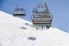 Chairlift on a ski resort Royalty Free Stock Photo