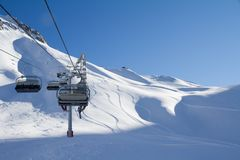 Chairlift on a ski resort Royalty Free Stock Photos