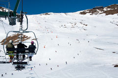Chairlift and the ski slope in Andorra Royalty Free Stock Photo