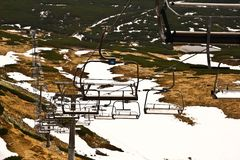 Chairlift on ski slope. In southern Poland Royalty Free Stock Photography