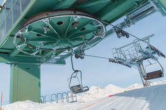 Chairlift with snow in Madesimo, Italy royalty free stock image