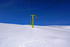 Chairlift snow and and sky. Chairlift snow and and blue sky withouth clouds Stock Images