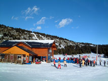 Chairlift station. At La Calme, Font Romeu, France with skiiers queueing stock photography