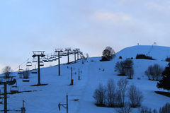 chairlift stopped in a winter night Royalty Free Stock Photography