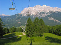 Chairlift in summer in Italy. Ski lift Stock Photos