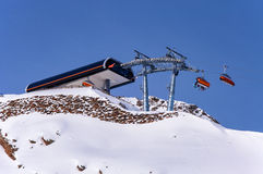 Chairlift top station in Austrian Alps. Chairlift top station in Solden, Alpine ski resort in Otztal Alps in Austria Royalty Free Stock Photography