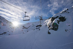 Chairlift - Verbier ski area Royalty Free Stock Image
