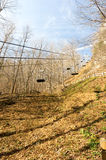 Chairlift in winter, no snow Stock Photo