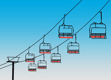 Chairlift winter sport background. Winter sport, ski chairlift or flyer background with space stock illustration
