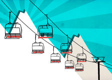 Chairlift winter sport background. Winter sport, ski chairlift or flyer background with space vector illustration