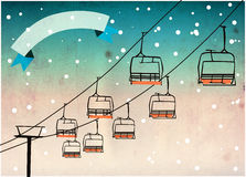 Chairlift winter sport background. Winter sport, ski chairlift or flyer background with space Royalty Free Stock Photography