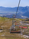Chairlifts at Alpine ski resort in summer Stock Photo