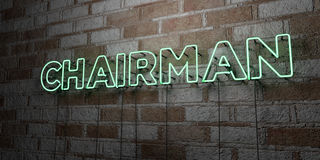 CHAIRMAN - Glowing Neon Sign on stonework wall - 3D rendered royalty free stock illustration. Can be used for online banner ads and direct mailers Royalty Free Stock Photo