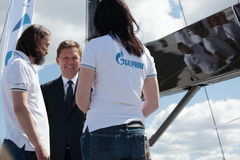 Chairman of the Management Committee of Gazprom Alexey Miller on the yacht Bronenosec Royalty Free Stock Image