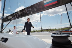 Chairman of the Management Committee of Gazprom Alexey Miller on the yacht Bronenosec Royalty Free Stock Photography