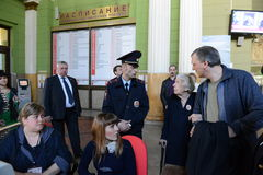 Chairman of the Moscow Helsinki group Lyudmila Alekseeva checks the security level of the Kiev railway station in Moscow. Stock Image