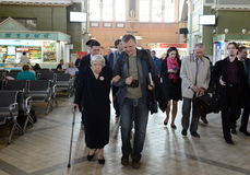Chairman of the Moscow Helsinki group Lyudmila Alekseeva checks the security level of the Kiev railway station in Moscow. MOSCOW, RUSSIA - APRIL 21, 2014 Royalty Free Stock Image