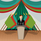 Chairman (politician). Vector illustration , Chairman (politician) gives an interview Stock Photography