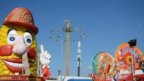 Chairoplane wheel at Oktoberfest stock video