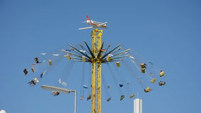 Chairoplane wheel at Oktoberfest stock video footage