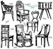 Chairs. Hand drawing and vector picture, chairs collection Royalty Free Stock Photography