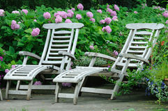 Chairs. In park, flowers in background Stock Image