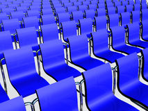 Chairs. A row of dark blue chairs is in the hall of meetings vector illustration