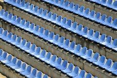Chairs. Blue plastic stadium  chairs row Stock Photo