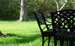 Chairs. Couple of chairs on a nice green field Royalty Free Stock Photo