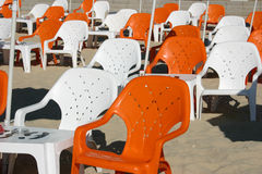 Chairs. Empty chairs on the beach in Israel stock image