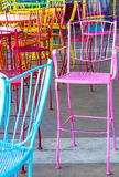 Chairs. Colorful painted metal cafe chairs Stock Photo
