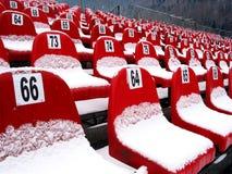 Chairs. On audience near ski jump stock photo