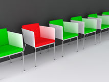 Chairs 3d rendering. Chairs scene 3d high resolution rendering. Concept of individuality, leadership, diversity, loneliness Royalty Free Stock Photos