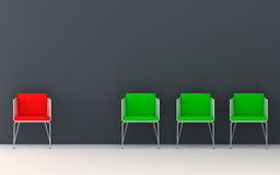 Chairs 3d rendering. Chairs scene 3d high resolution rendering. Concept of individuality, leadership, diversity, loneliness Stock Images
