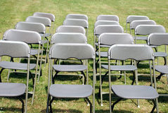 Chairs. Arranged in the park for a summer wedding Stock Photo