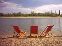 Chairs. Ada Ciganlija - Chairs in Belgrade resort on river Sava Royalty Free Stock Photo
